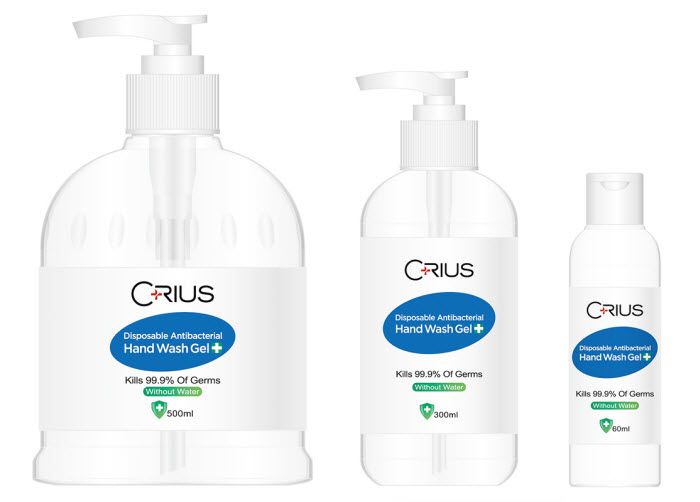 Different sizes of hand wash gels